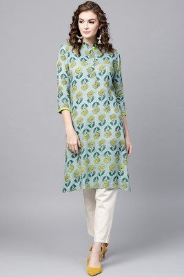 Blue printed rayon ethnic-kurtis