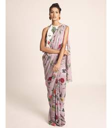 Payal Singhal Ivory Printed Art Crepe Top with Lilac Printed Art Georgette Saree