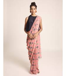 Payal Singhal Navy Colour Art Crepe Top with Coral Printed Art Georgette Saree