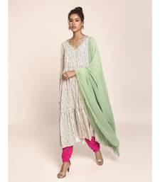 Payal Singhal Hot Pink Colour Soft Net Churidar and Green Colour Art Georgette Dupatta