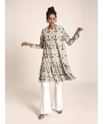Payal Singhal Cream Colour Printed Art Crepe Tunic