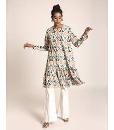 Payal Singhal Cream Colour Printed Art Crepe Tunic