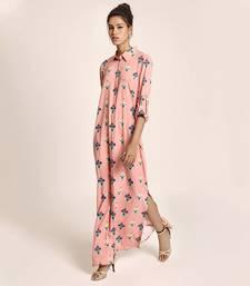 Payal Singhal Coral Printed Art Crepe Shirt Dress