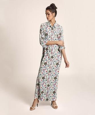 Payal Singhal Blue Printed Art Crepe Shirt Dress