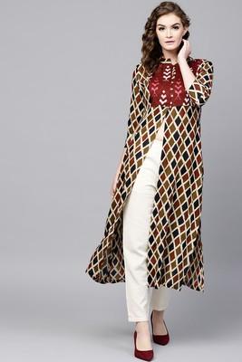 Beige printed rayon ethnic-kurtis