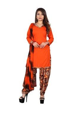 Orange printed synthetic salwar
