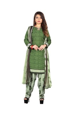 Green printed synthetic salwar