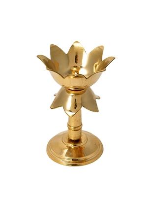 Gold Platted Kamal Pure Brass Table Diya Brass Table Diya  (Height: 6 inch)