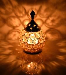 Brass Crystal Matki Akhand Diya  Crystal Oil Lamp For Puja  Home Decorative Diya 4.5 Inch (Small)