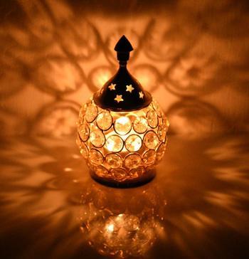 Brass Crystal Matki Akhand Diya  Crystal Oil Lamp For Puja  Home Decorative Diya 5.5 Inch (Medium)