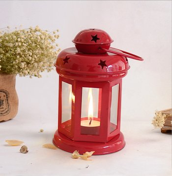 Decorative Hanging Tealight Candle Holder Lantern Indoor outdoor Home Decoration for Gifts Red