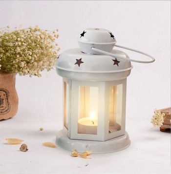 Decorative Hanging Tealight Candle Holder Lantern Indoor outdoor Home Decoration for Gifts White