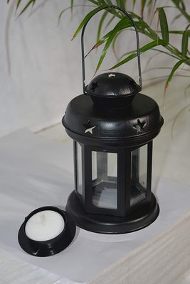Decorative Hanging Tealight Candle Holder Lantern Indoor outdoor Home Decoration for Gifts Black