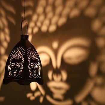 Decorative Hanging Buddha Tealight Candle Holder Lantern (9X9X16.25 CM)  Black