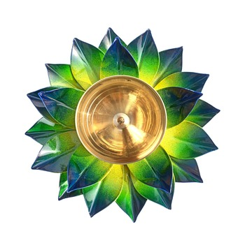 Iron and Brass Kamal Ptta green color Akhand diya size 6 inch