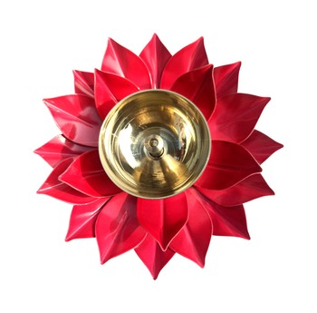 Iron and Brass Kamal Ptta Magenta color Akhand diya size 6 inch