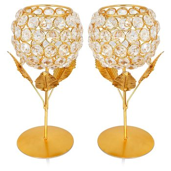 Brass, Iron and Crystal Flower Tealight Candle Holder 6 Inch Pack of 2