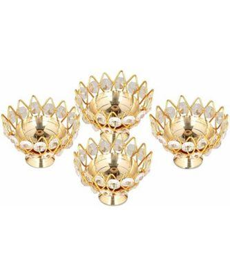 Small Brass and crystal Akhand diya  Bowl style Brass Table Diya Set 4 (Height: 1.9 inch)