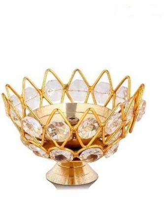Small Brass and crystal Akhand diya  Bowl style Brass Table Diya (Height: 1.9 inch)
