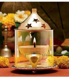 Brass Gold Akhand Diya Big Oil Puja Lamp 4 Inch