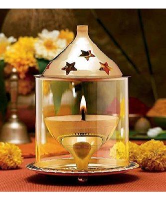Brass Gold Akhand Diya Big Oil Puja Lamp 4.8 Inch