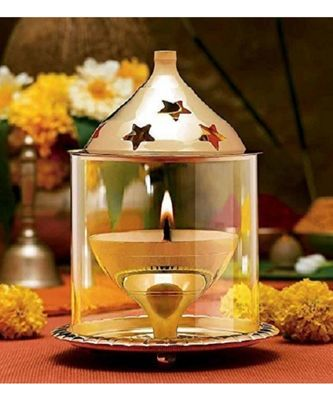 Brass Gold Akhand Diya Big Oil Puja Lamp 5.75 Inch