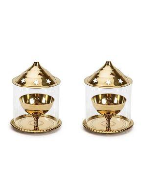 Brass Golden  Akhand Diya Big Oil Puja Lamp 5.75 Inch Set of 2