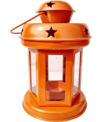 Decorative Hanging Tealight Candle Holder Lantern Indoor outdoor Home Decoration for Gifts Orange
