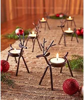 Cute Christmas Reindeer Tealight Holder - 2 pc (Black) Reindeer Shaped tealight Holder