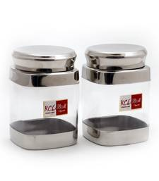 Set of 2-Each 900ML KCL Square Shaped Storage Canister / Unbreakable Jar/Container /Utility Box