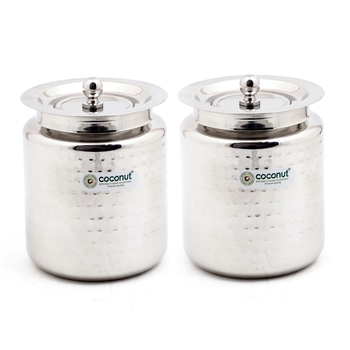 Hammered Ghee Pot / Oil Pot with Lid - Set of 2 Pieces - 300 ML Each