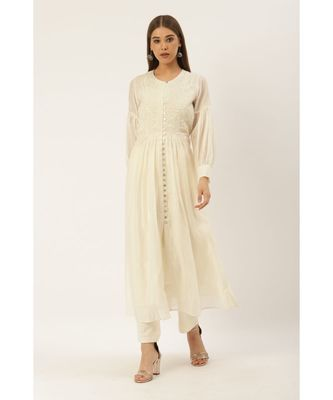Ritu Kumar Off White Full Sleeve Long Solid Dress Kurta With Embroidery And Cotton Inner And Trouser