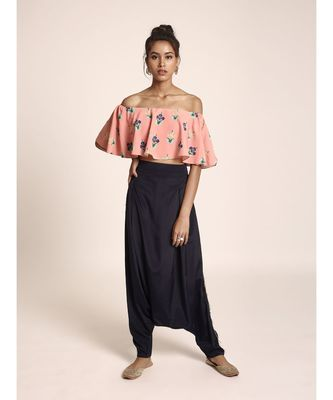 Payal Singhal Coral Printed Art Crepe Ruffle Off Shoulder Top with Navy Art Crepe Low Crotch Pant