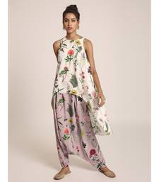 Payal Singhal Ivory Printed Art Crepe Kurta with Lilac Printed Art Crepe Low Crotch Pant