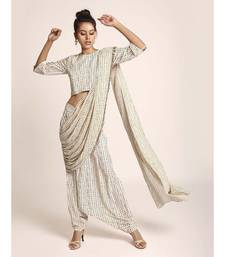 Payal Singhal Cream Printed Art Crepe Crop Top and Low Crotch Pant with attached Printed Art Georgette Drape