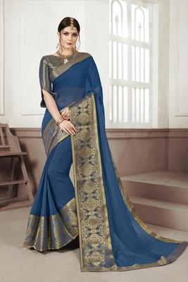 Light blue woven chiffon saree with blouse