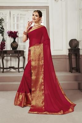 Maroon woven chiffon saree with blouse