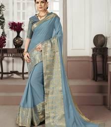 Grey woven chiffon saree with blouse