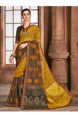 Coffee printed brasso saree with blouse