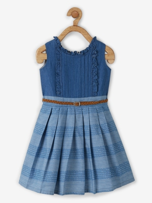 Blue printed cotton kids-frocks