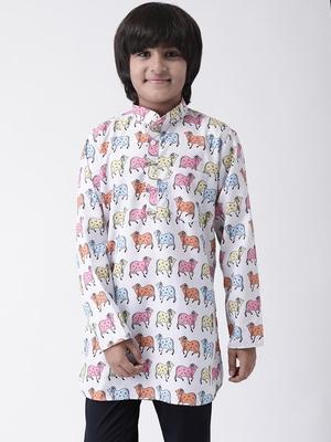 Multicolor printed cotton boys-kurta