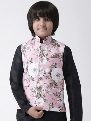 Multicolor printed silk blend boys-nehru-jacket