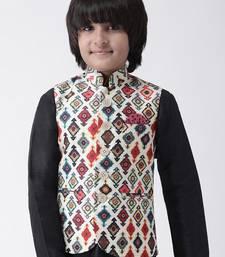 Multicolor printed silk blend boys-nehru-jacket