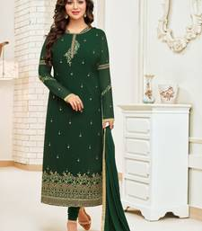Dark Green Georgette Heavy Embroidered Women's Semi-stitched Salwar Suit