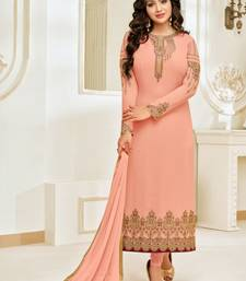 Peach Georgette Heavy Embroidered Women's Semi-stitched Salwar Suit