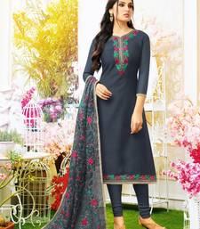 Dark Grey Chanderi Silk Unstitched Women's Dress Material