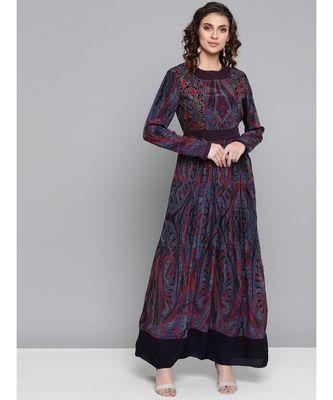 Ritu Kumar Purple Round Neck Full Sleev Long Printed Kurta With Embroidery