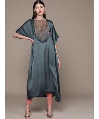 Ritu Kumar Blue Half Sleeve Long Solid Kaftan With Attached Necklace