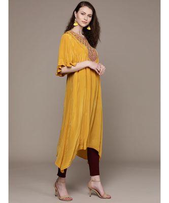 Ritu Kumar Yellow Half Sleeve Solid Kurta With Embroidered Yoke