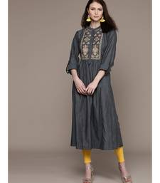 Ritu Kumar Women Charcoal Grey Embroidered Yoke Design A-Line Kurta